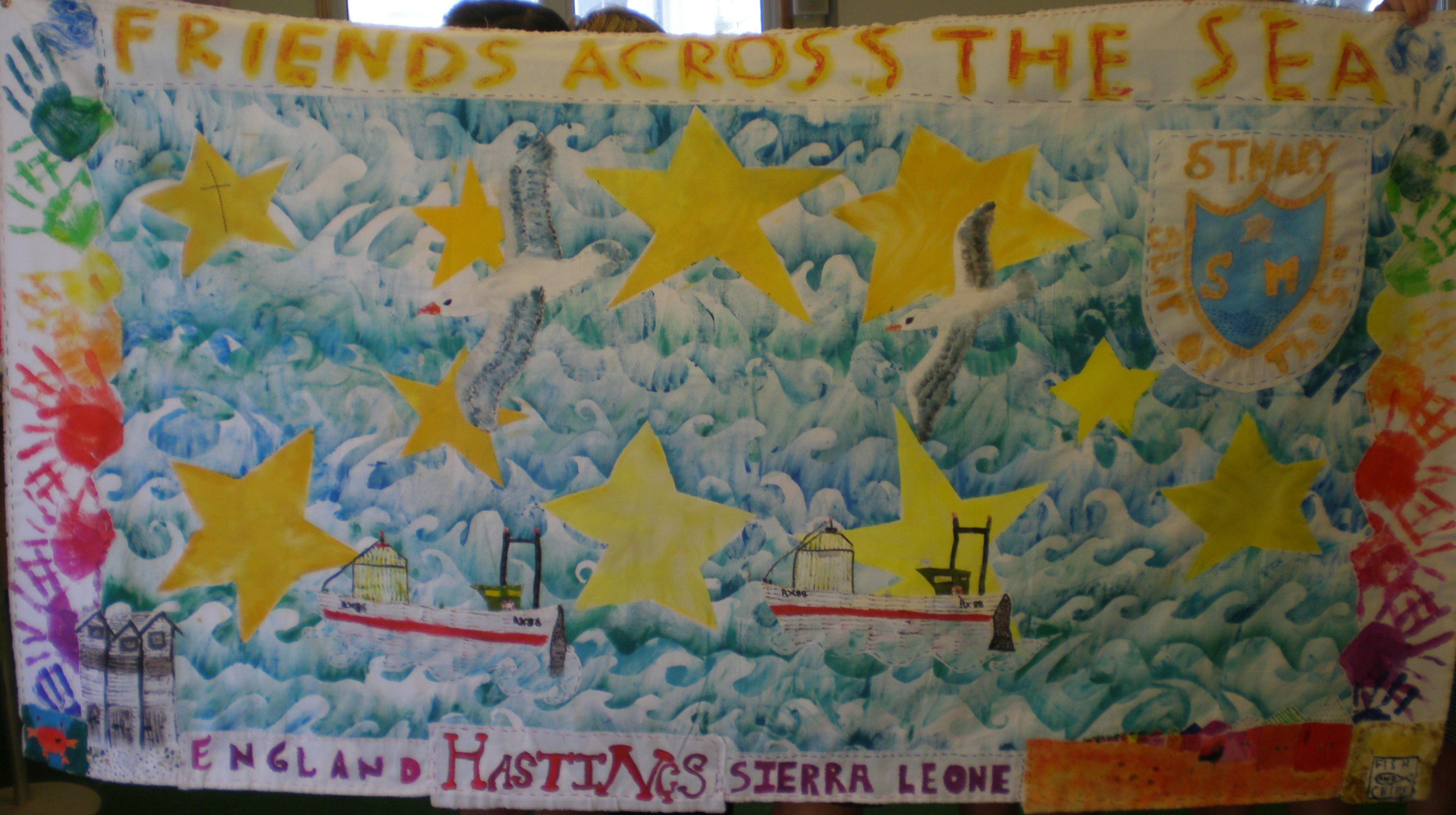 Textile hanging made by pupils of St Mary Star of the Sea, Hastings