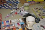Weave detail with cups of tea
