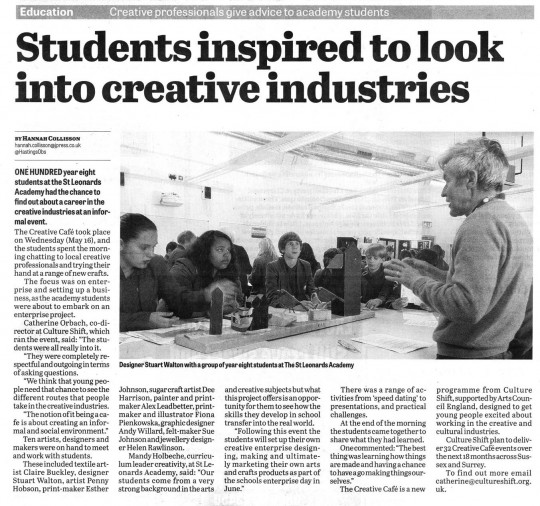 Press coverage of the Creative Cafe