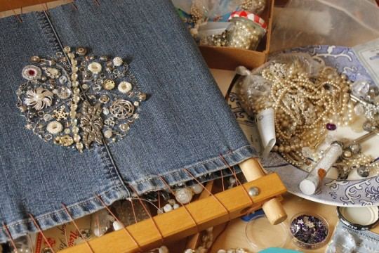 Bead embroidey with vintage jewellery for Star Gazing (work in progress)