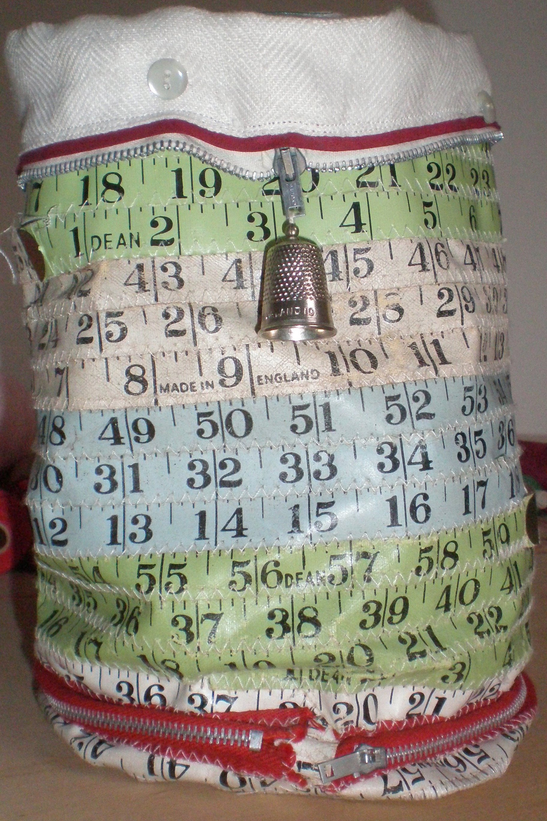 Sewing bag made from vintage tape measures