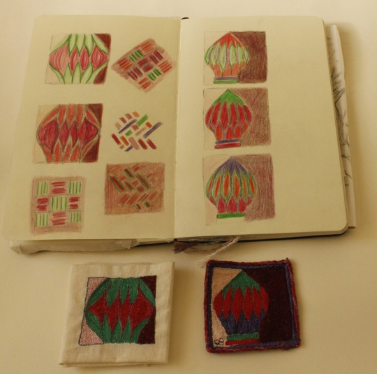 Sketchbook designs and machine embroidery