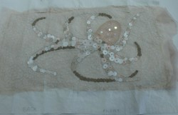 A preserved octopus was the design source for this delicate hand and machine embroidery
