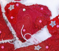 Embroidered heart pincushion